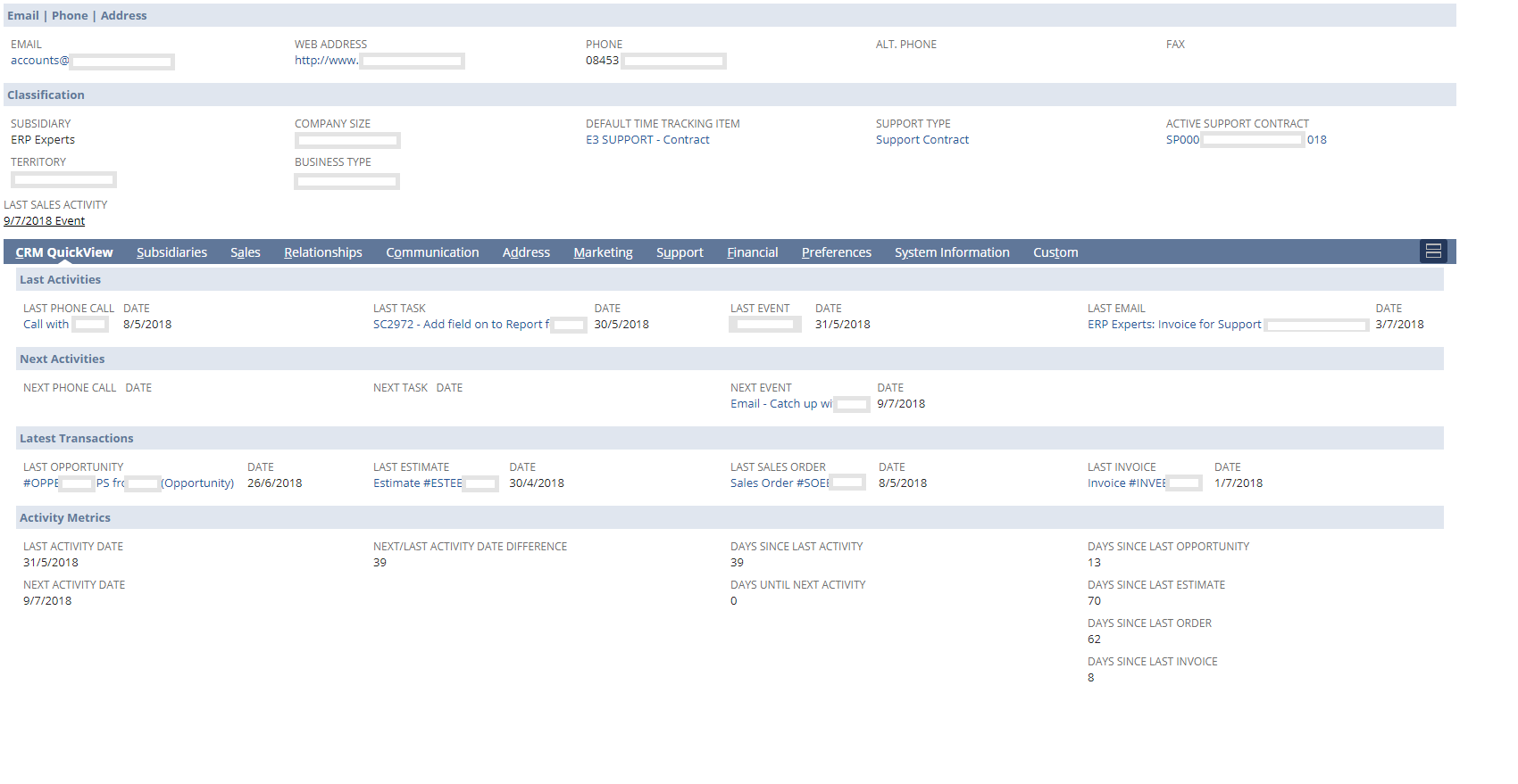 CRM QuickView for NetSuite
